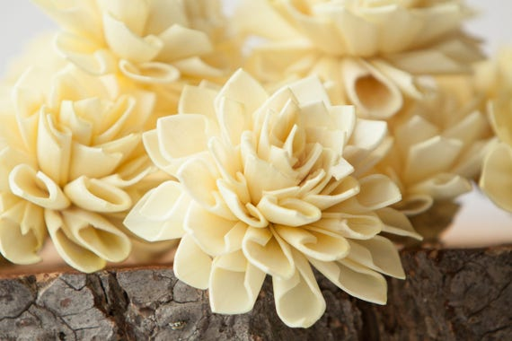 Light Yellow Dahlia Sola Flowers - Set of 10, Folded Sola FLowers, Sola Flowers, Sola Flower, Wood Sola Flowers, Balsa Wood FLowers