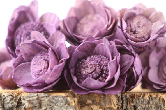 Purple Camellia Sola Flowers- SET OF 10