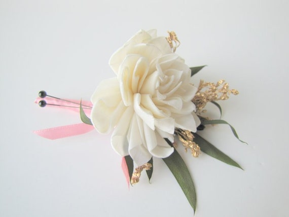 Gold Accented Boutonniere - Gold Accented Corsage - Pin on Boutonniere - Pin on Corsage - Gold Wedding - Blush Pink and Gold Wedding