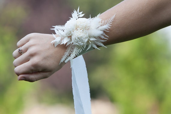 Women's Boho Silk Ribbon Wrist Corsage