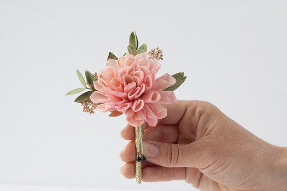 Pink Dahlia Boutonniere, Pink Wedding Boutonniere, Pin on Boutonniere