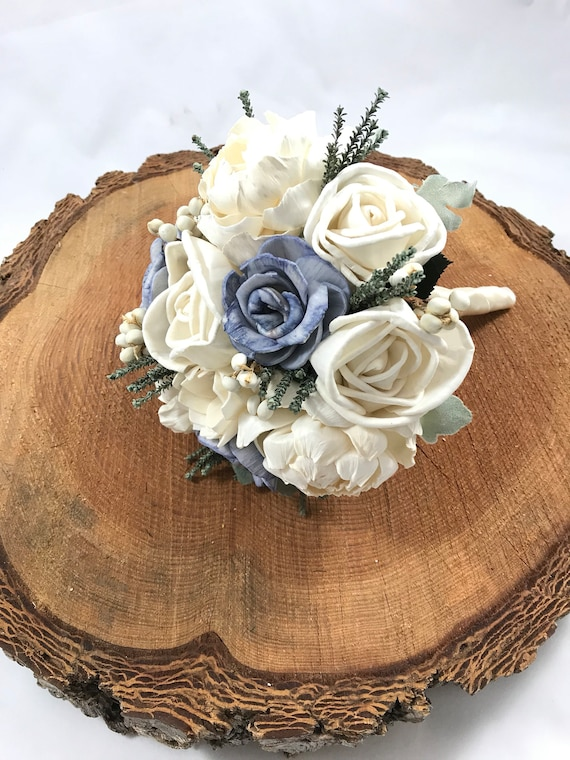 Steele Blue and Grey Bridesmaid Bouquet - Keepsake Bouquet