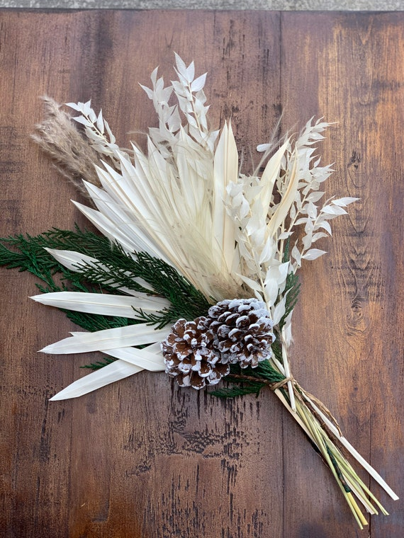Frosted Pinecone Winter Dried Flower Arrangement - Wrapped Dried Floral Bouquet