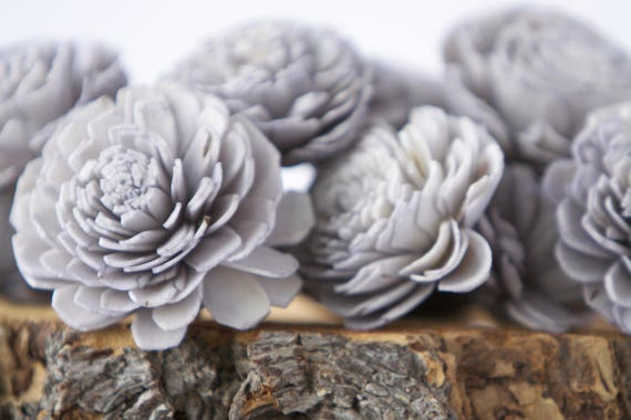 Grey Belly Sola Flowers - SET OF 10 , Sola Flowers, Wood Sola Flowers, Belly Sola, Balsa Wood Flowers, Gray Sola Flowers, DIY Flower Crafts