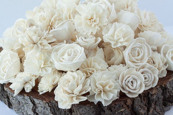 Classic Ivory Sola Flower Mix - Set of 45 and Set of 100 Sola Flowers