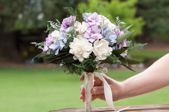 Lavender Blue and Ivory Boho Bridal Bouquet