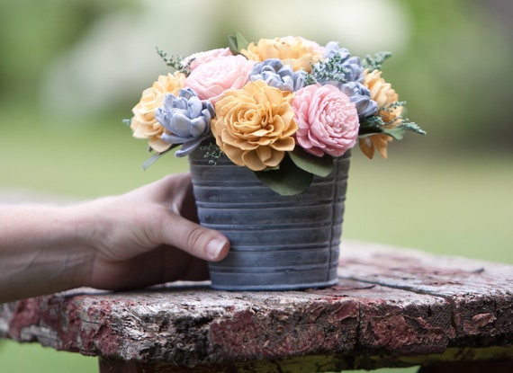 Pink, Mustard and Steel Blue Tin Floral Arrangement - Keepsake Flowers