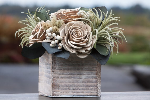 Green and Ivory Faux Succulent Square Centerpiece