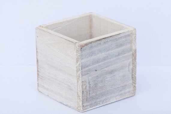 Whitewash Woodland Planter - 4 inch cube wood container