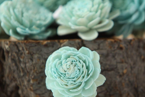 Turquoise Belly Sola Flowers - SET OF 10