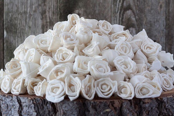 Bulk Miniature Rose Sola Flowers - SET OF 500 , Value Pack of mini rose Sola Flowers, Wood Sola Flowers, Balsa Wood Flowers, DIY, Flower