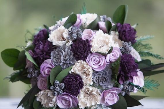 Large Purple and Grey Sola Flower Boho Bridal Bouquet - Keepsake Bridal Bouquet - Alternative Bridal Bouquet