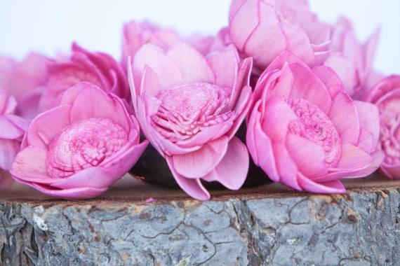 Hot Pink Camellia Sola Flowers- SET OF 10