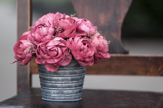Burgundy Peony Sols Flower Tin Floral Arrangement - Keepsake Flowers