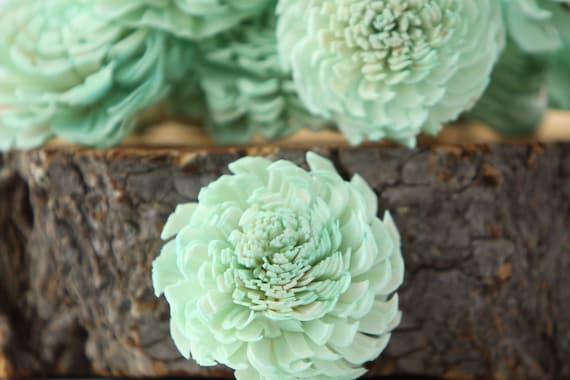 Mint Chorki Sola Flowers - SET OF 10 , Chorki, Sola, Wood Sola Flowers, Chorki Sola, Balsa Wood Flowers, Wedding DIY, Craft Flowers