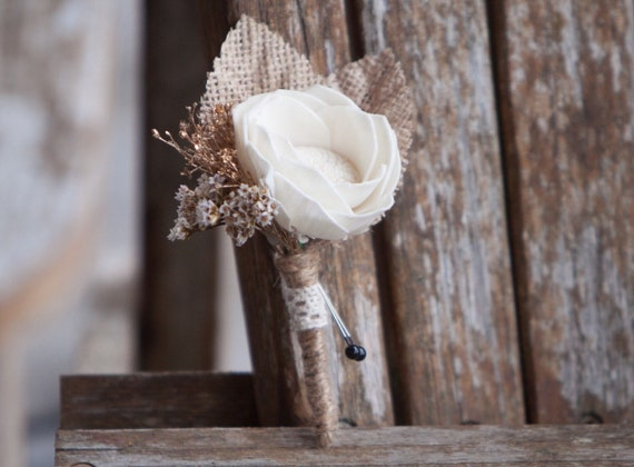 Ivory and Gold Camellia Burlap Boutonniere