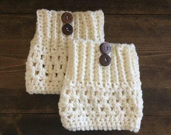 Cream crocheted boot cuffs