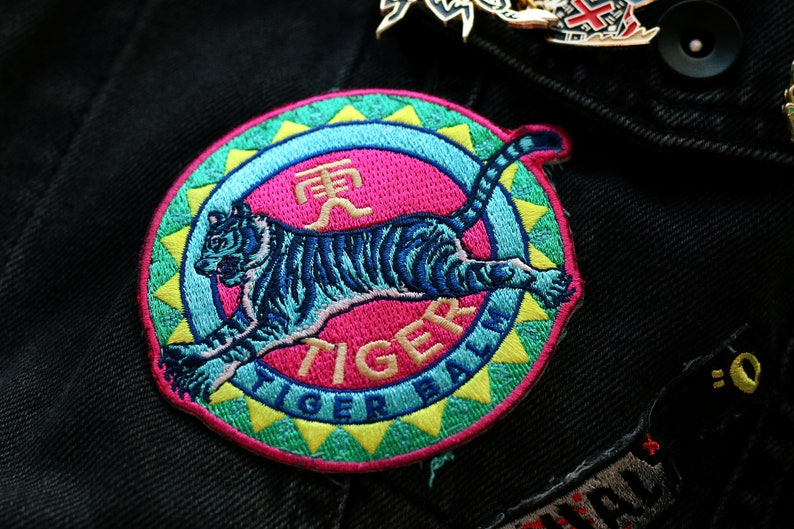 Iron-On Backing 100/% Embroidered Tiger Balm Embroidered Patch