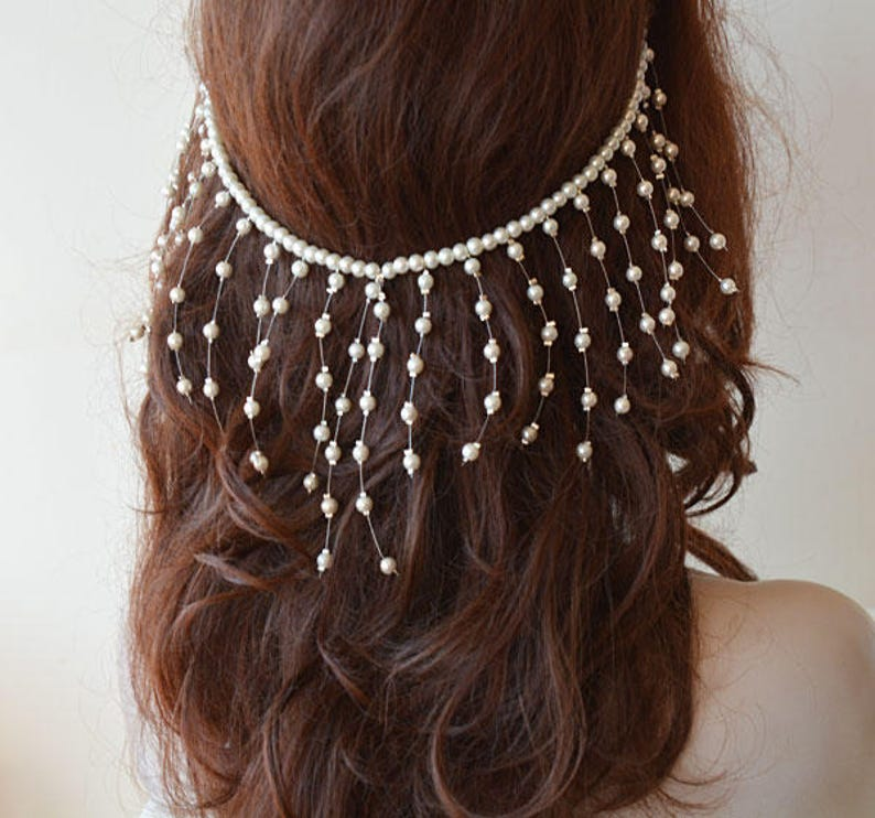 Pearl Wedding Headpiece  Bridal Head Chain Pearl Hair image 0