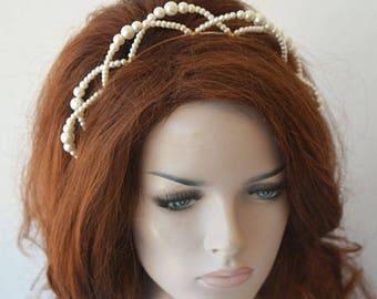 Pearl Bridal Tiara, Pearl Bridal Headpiece, Wedding Tiara, Wedding Headpiece, Wedding Headband, Wreaths Tiaras