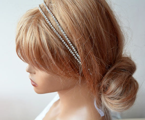 Bridal Hair Accessories Double Rhinestone Headband Wedding  6f3d102a056