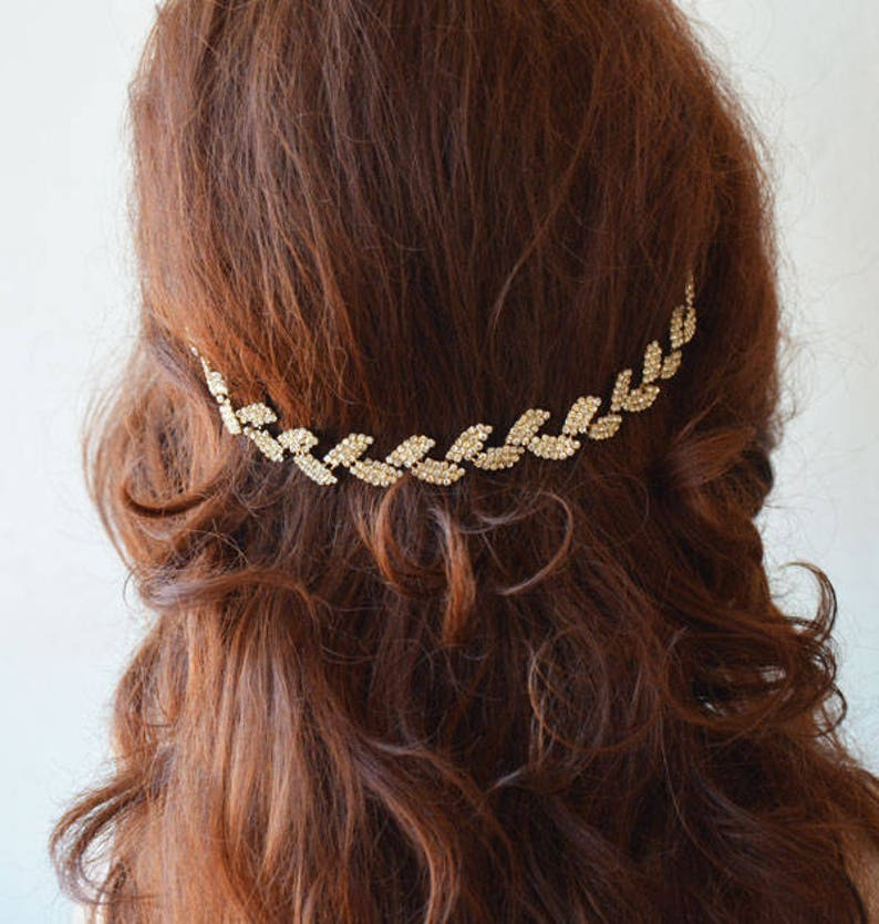 Rhinestone Leafs Headband Crystal Floral Bridal Hairpiece image 0