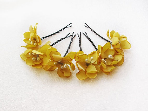 Yellow flower hair clip flower wedding hair accessories etsy image 0 mightylinksfo