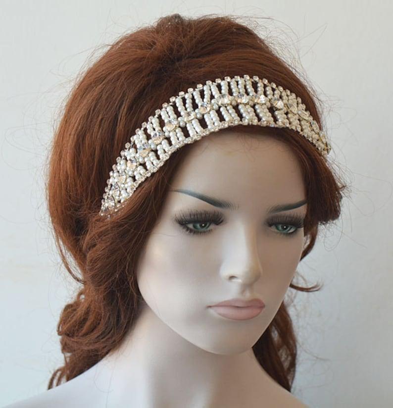 Crystal and Pearl Hair Piece Vine Headband Pearl Headpiece Bridal Forehead Band Bridal Pearl Headband Wedding  Hair Accessories