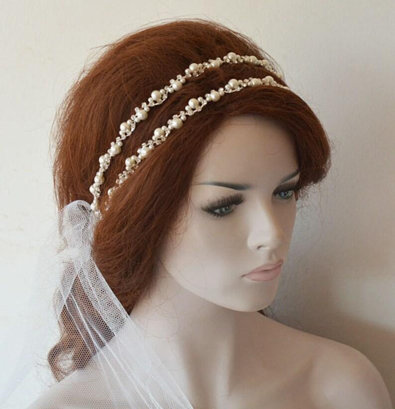 Pearl Bridal Headpiece Pearl Double Wedding Headband Wedding  206cafd9d71
