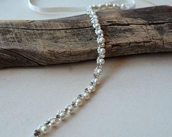 Pearl Wedding Belt, Bridal Belt, Pearl and Rhinestone Belt, Pearl Thin Belt, Wedding Dress  Skinny Sash, Crystal Belt, Wedding Accessory