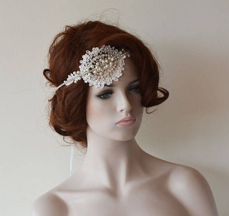 Wedding Head Piece for Bride Lace Headband Lace and Pearl Bridal Forehead Band lace Hair Piece Wedding Headpiece Wedding Lace and Pearl