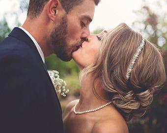 Wedding Headband, Crystal and Pearls Hairpiece, Headpiece for Wedding, Rhinestone Wedding Headpiece, Wedding Hair Vine, Hair Accessories