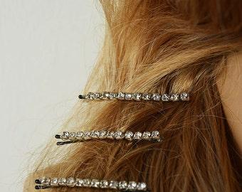 Wedding Hair Bobby Pins, Bridal Rhinestone Hair Pins, Hair Pins, Bridesmaids Hair Pins, Set of 3 Rhinestones Hair Bobby