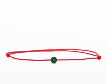 Malachite Bracelet, Red String Bracelet, Talisman Bracelet, Kabbalah Bracelet, Protection Bracelet, Friendship Bracelet, Simple Bracelet