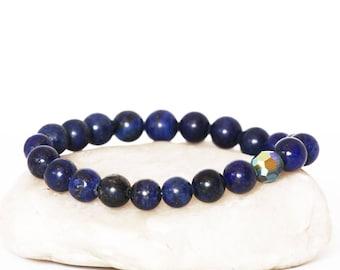 Lapis Lazuli Bracelet, Swarovski Bracelet, Lapis Bracelet, Blue Bracelet, Beaded Bracelet, Stretch Bracelet, Women Bracelet, Men Bracelet