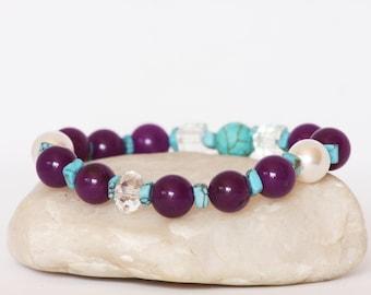 Purple Agate Bracelet, Swarovski Pearls Bracelet, Turquoise Bracelet, Balance Bracelet, Protection Bracelet, Stretch Bracelet, Gift For Her