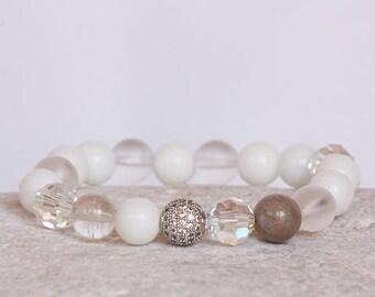 Bridal Bracelet, Swarovski Bracelet, Cubic Zirconia Gemstones Bracelet, Swarovski Crystal Bracelet, Gemstones, Protection Strength Harmony