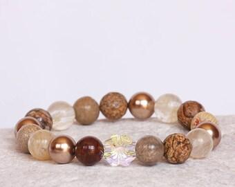 Swarovski Clover Bracelet, Pearls  Bracelet, Gemstones Bracelet, Gemstones Talisman, Clover Bracelet, Lucky Bracelet, Prosperity Jewelry