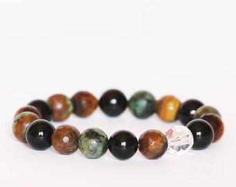 Stylish gemstone bracelet,Swarovski crystal bracelet,Agate bracelet,Balance protection bracelet, Tiger's Eye Bracelet, Turquoise Bracelet