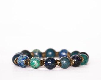 Chrysocolla Bracelet, Sandstone Bracelet, Agate Bracelet, Blue Gemstones Bracelet, Stretch Bracelet, Summer Bracelet, Gift for women