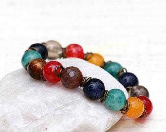 Multicolor Gemstones Bracelet, Tiger Eye, Yellow Jade, Agate, Sandstone, Smoky Quartz, Stretch Bracelet, Summer Bracelet, Gift for women