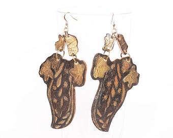 Black Leather Leaf Earrings, Rustic Leather Earrings, Large Leather Earrings, Leaves Earrings, Leather Earrings, Recycled Earrings