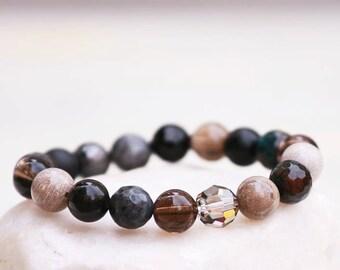Stylish gemstone bracelet,Swarovski crystal bracelet,Agate bracelet,Balance protection bracelet, Obsidian Bracelet,Tiger eye,Quartz Bracelet