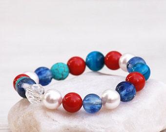 Turquoise Bracelet, Agate Bracelet, Sodalite Bracelet, Crystal Bracelet, Swarovski Pearls Bracelet, Summer Jewelry Gift, Swarovski bracelet