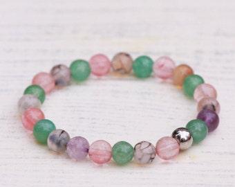 Cherry Quartz Bracelet, Amethyst Bracelet, Agate Bracelet,Stainless Steel Bracelet,Stretch Gemstones Bracelet,Pastel bracelet,Gift for women