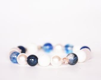 Lapis Lazuli Bracelet, Sodalite Bracelet, Blue Crystal Bracelet, Stretch Bracelet, Rose Quartz Bracelet,Swarovski Pearl Bracelet, Howlite