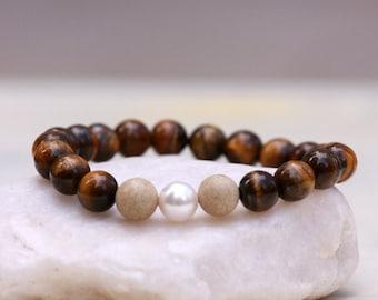 Tiger eye Bracelet, Gemstones Bracelet, Jasper Bracelet, Pearl Bracelet, Stretch Bracelet, Tiger eye Jewelry Gift, Swarovski