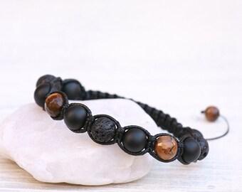 Men's Black Onyx Bracelet, Men's Jewelry, Men's Bracelet, Tiger Eye Bracelet, Volcano Lava Bracelet, Mala Bracelet,Men's Accessories, Unisex