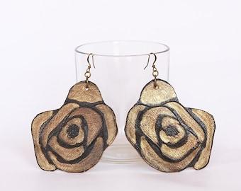 Black Leather Rose Earrings, Rustic Leather Earrings, Large Leather Earrings, Rose Earrings, Leather Earrings, Recycled Earrings