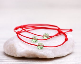 Red String Bracelet, Swarovski Clover Bracelet, Amulet, Talisman, Lucky Bracelet, Protection Bracelet, Kabbalah Bracelet, Red String Of Fate